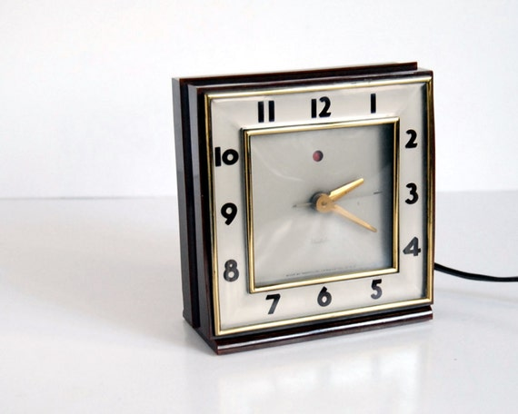 Vintage Clock Westclox Ardmore S5E Art Deco Shelf / Desk Clock