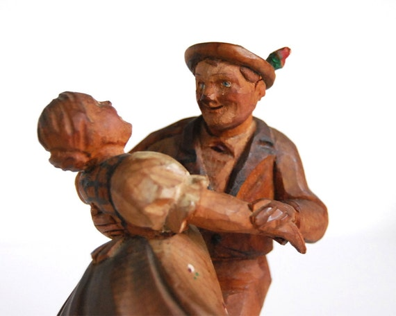 Vintage Figurine Bavarian Carved Wood Dancers Black Forest Germany Folk Art