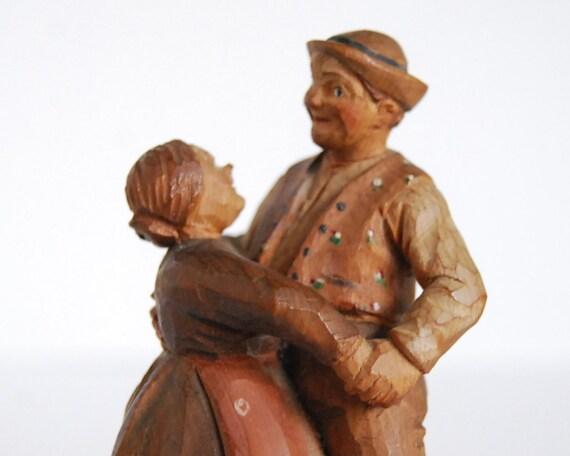 Vintage Figurine Bavarian Carved Wood Dancers Black Forest Germany Folk Art