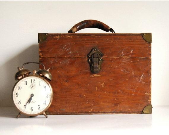 Vintage Wood Box Rustic Decor File Box / Storage Container Organizer