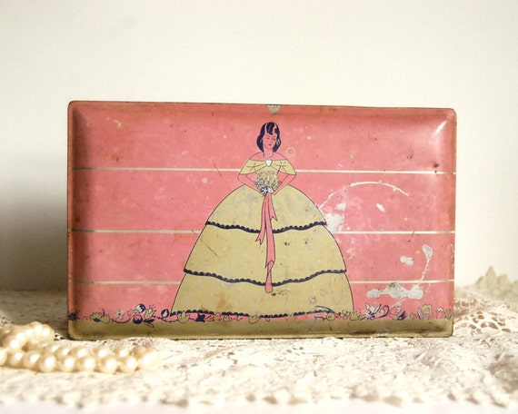 Vintage Tin Box, Gales Chocolates Candy Tin with Pink Lady Southern Belle