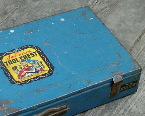 Vintage Toy Toolbox American Tool Chest Rusty Blue Tool Box