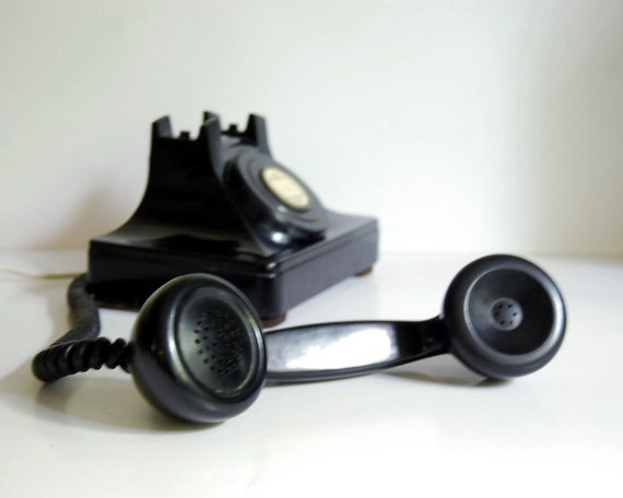 Vintage Telephone North Electric Galion 1940s Art Deco Black Desk Inner Office or Hotel Phone Working
