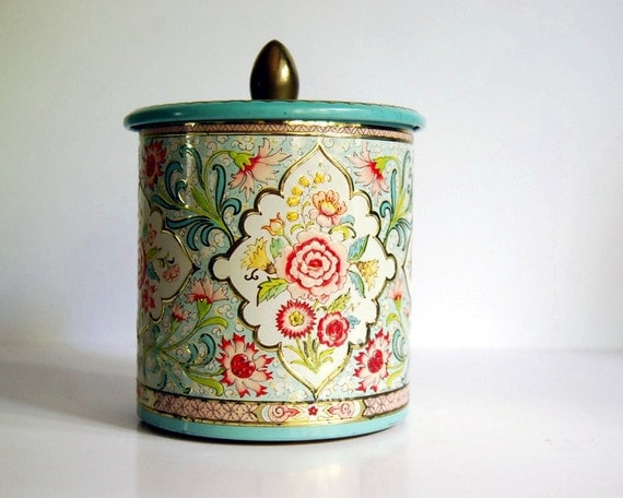Vintage Tin Canister Mint Green and Pink Floral Embossed Container Made in Holland