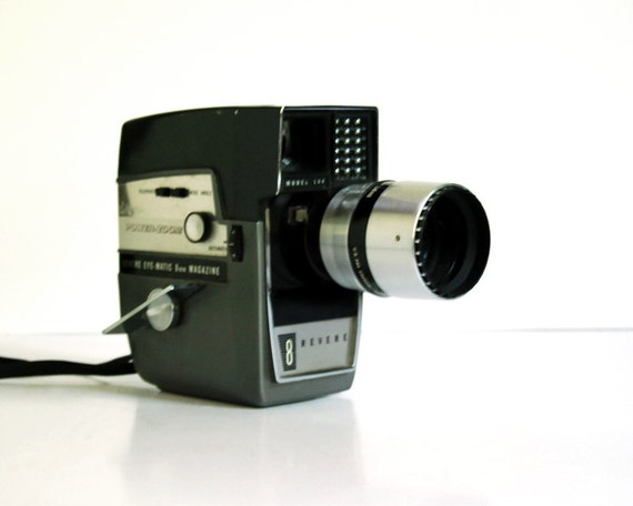 Vintage 8mm Movie Camera 1960s Revere 8 Power Zoom Model 144 with Box and Manual