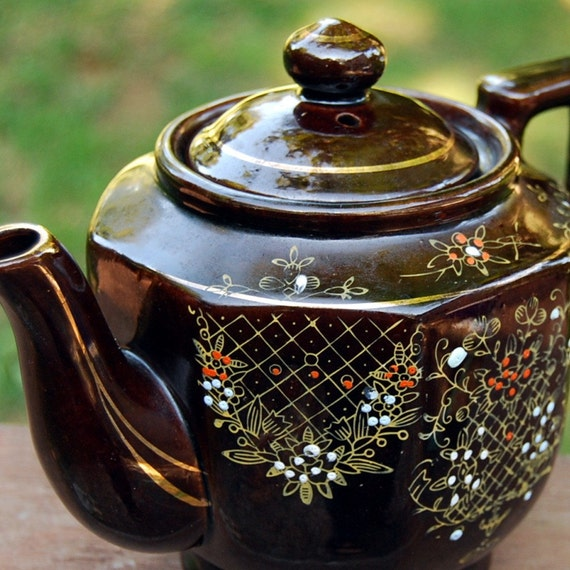 Vintage Brown Hand Painted Japanese Teapot