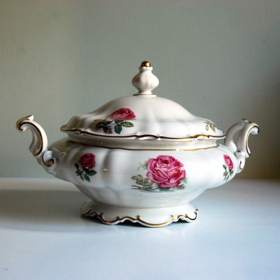 Vintage Bowl Fine China Hutschenreuther Selb Dundee Rose Covered Vegetable Bowl Pink White