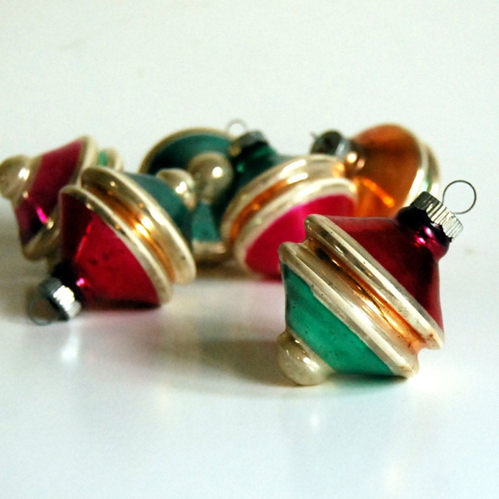 Vintage shiny brite spinning top ornaments s