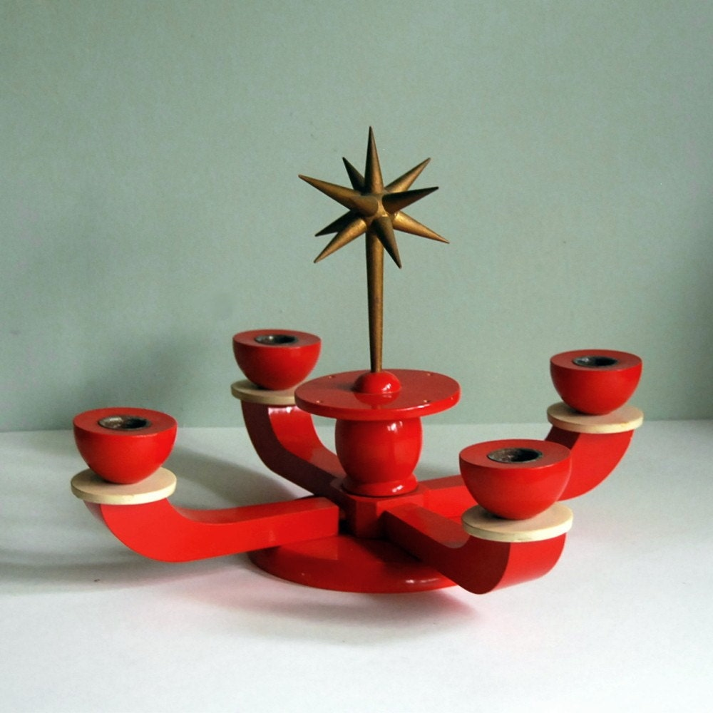 Vintage german candle holder advent centerpiece from