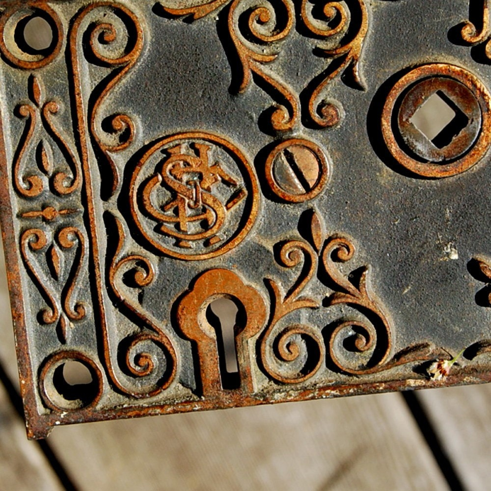 Antique Rim Lock Or Door Lock Box Ornate Vintage
