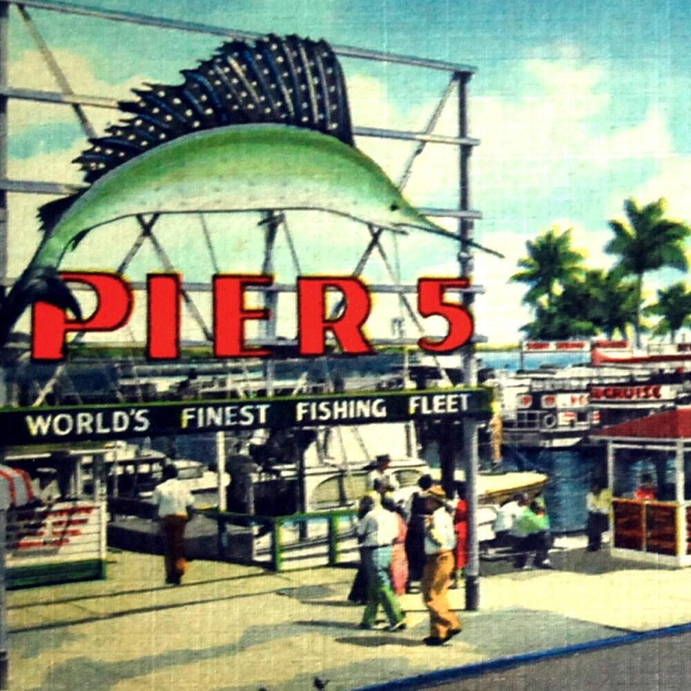 1949 vintage postcard pier 5 fishing pier miami florida by for Fishing store miami