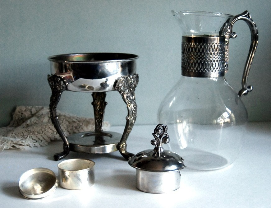 Vintage Carafe With Silver Plate Warming Stand By English