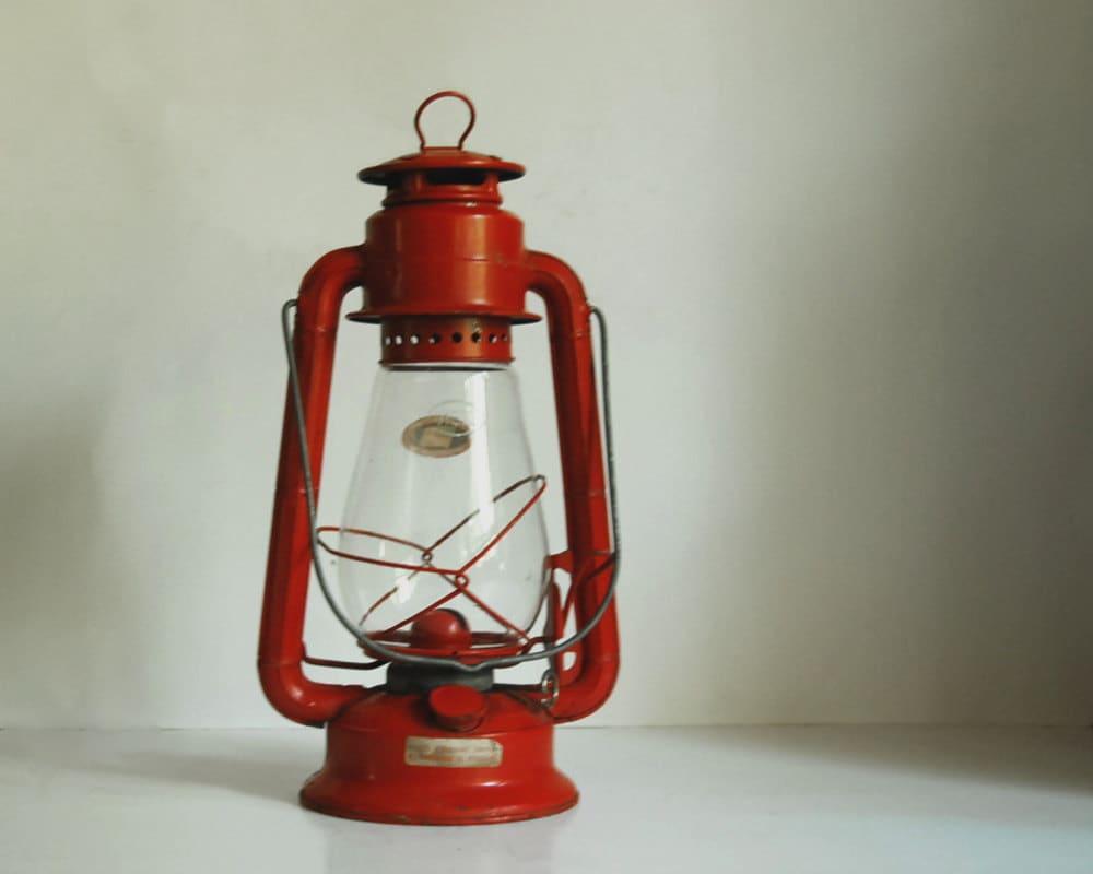Vintage Lantern Red Kerosene Camping Lantern by CalloohCallay