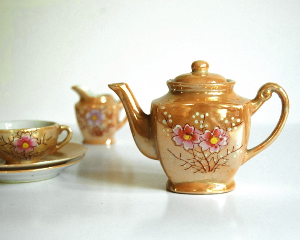 Vintage Toy Tea Set Japan Miniature Teapot Instant Collection