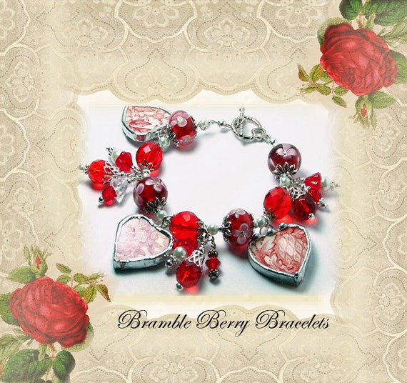 Broken China Bracelet - Broken China Jewelry  - Red Transferware Bracelet - Charm Bracelet - Heart Bracelet