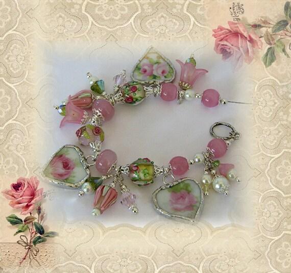 Broken China Bracelet - Charm Bracelet - Handmade Vintage China Bracelet - Pink Rose Bracelet