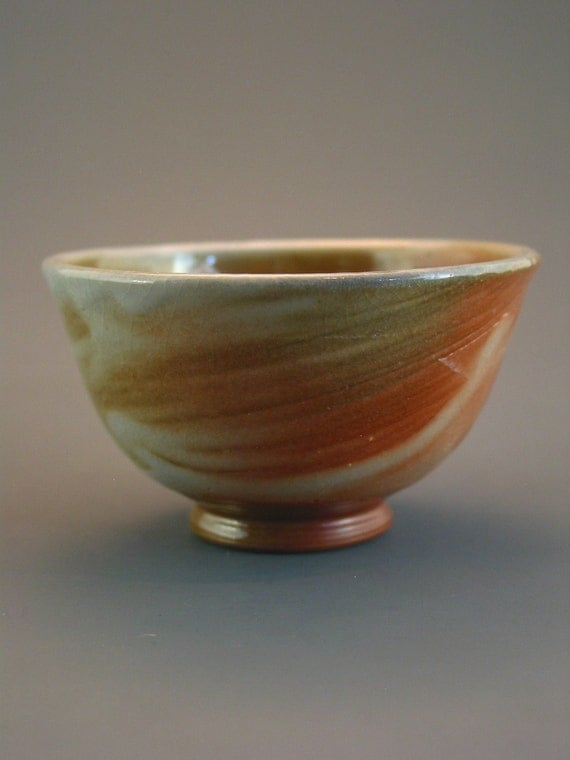 Teacup/Guinomi, wood-fired iron rich stoneware w/ shino and natural ash glazes