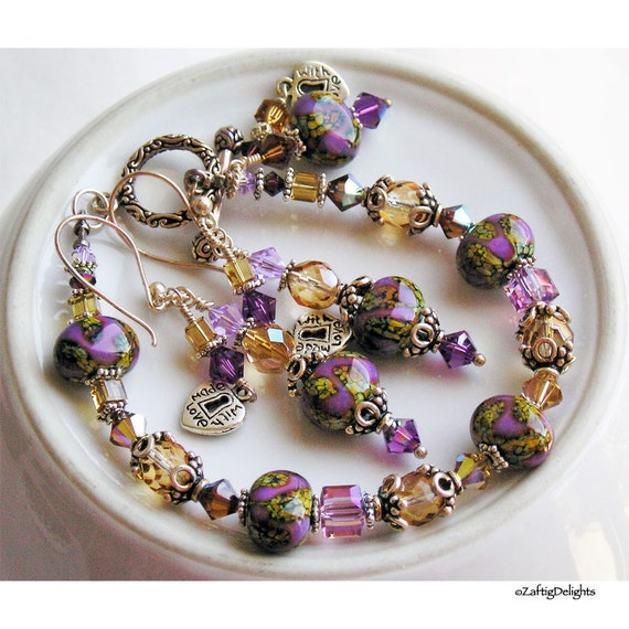 Bracelet & Earrings, Lampwork Glass Swarovski Crystals Sterling Silver - Autumn Violets