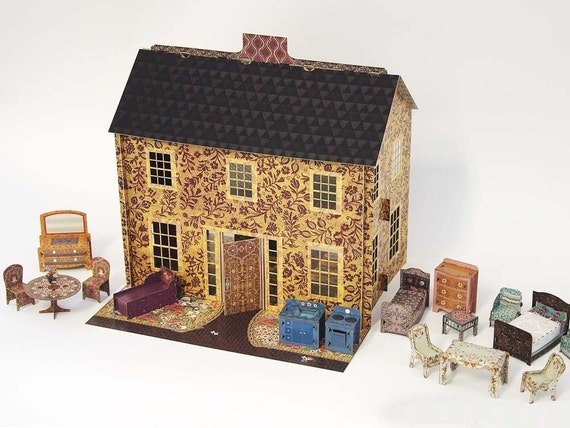 Emily's Dollhouse, A Fully Assembled Pop-Up Cardboard Dollhouse with all accessories (1/2 scale)