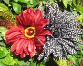 RESERVED - SPIRAL JOY - Black and Red Floral Hair Facinator