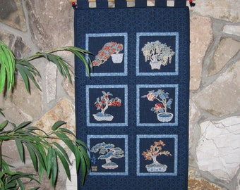 Japanese Bonsai Trees Quilted Wall Hanging SALE