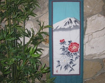 Mount Fuji and Peonies by Kawakami Scroll Size Wall Hanging Quilt Japanese Design