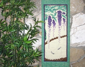 Wisteria and Fish Pond Wall Hanging Quilt Decor Japanese Asian Design Tenugui