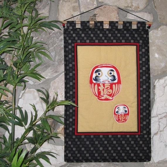 Japanese Wall Hanging Quilt DARUMA by Kawakami Small Size