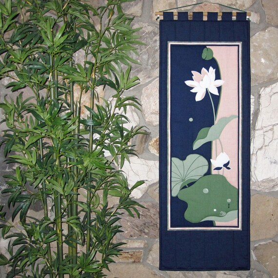 Quilted Wall Hanging Lotus and Frog Japanese Asian Design Scroll Size