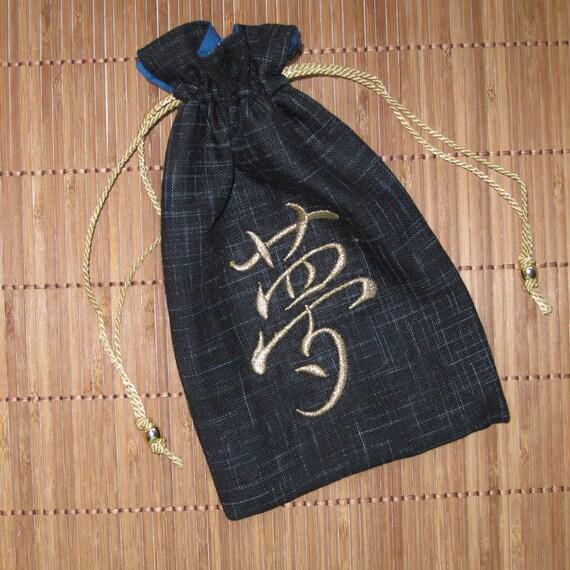 Tiny Tote Pouch Purse Organizer DREAM KANJI Design Asian Fabric