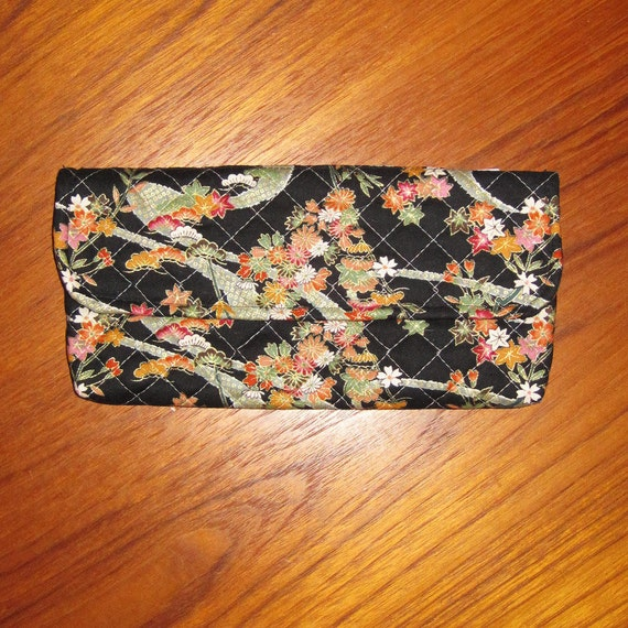 Quilted Coupon Holder Organizer Wallet Floral Japanese Asian Design