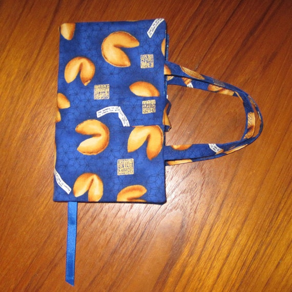 Paperback Fabric Book Cover Asian Chinese Fortune Cookies Design STANDARD SIZE Blue