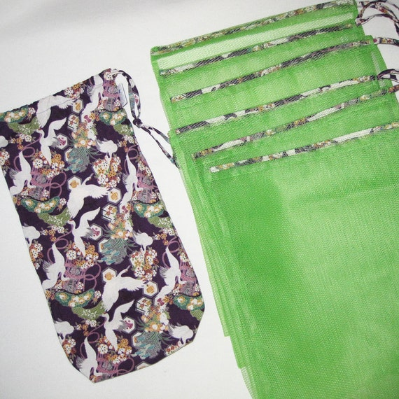 Mesh Grocery Produce Bag Gift Set of 6 with Matching Drawstring Stuff Duffel Crane Design