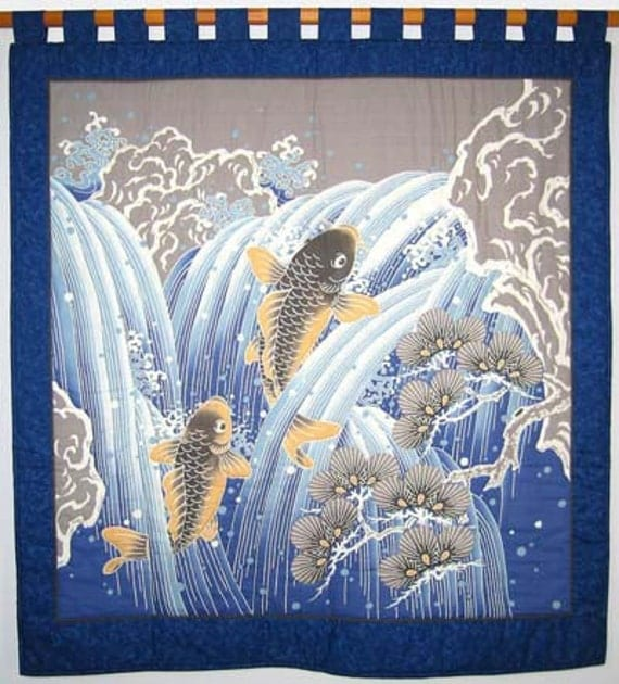 Wall hanging quilt koi pines and waterfall by for Koi wall hanging