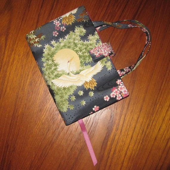 Paperback Book Cover Flying Crane and Moon Design Japanese Asian Fabric LARGE TEXT SIZE