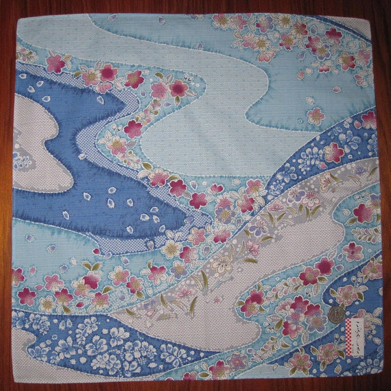 Cherry Blossoms and River Design Japanese Fabric Square Small Furoshiki