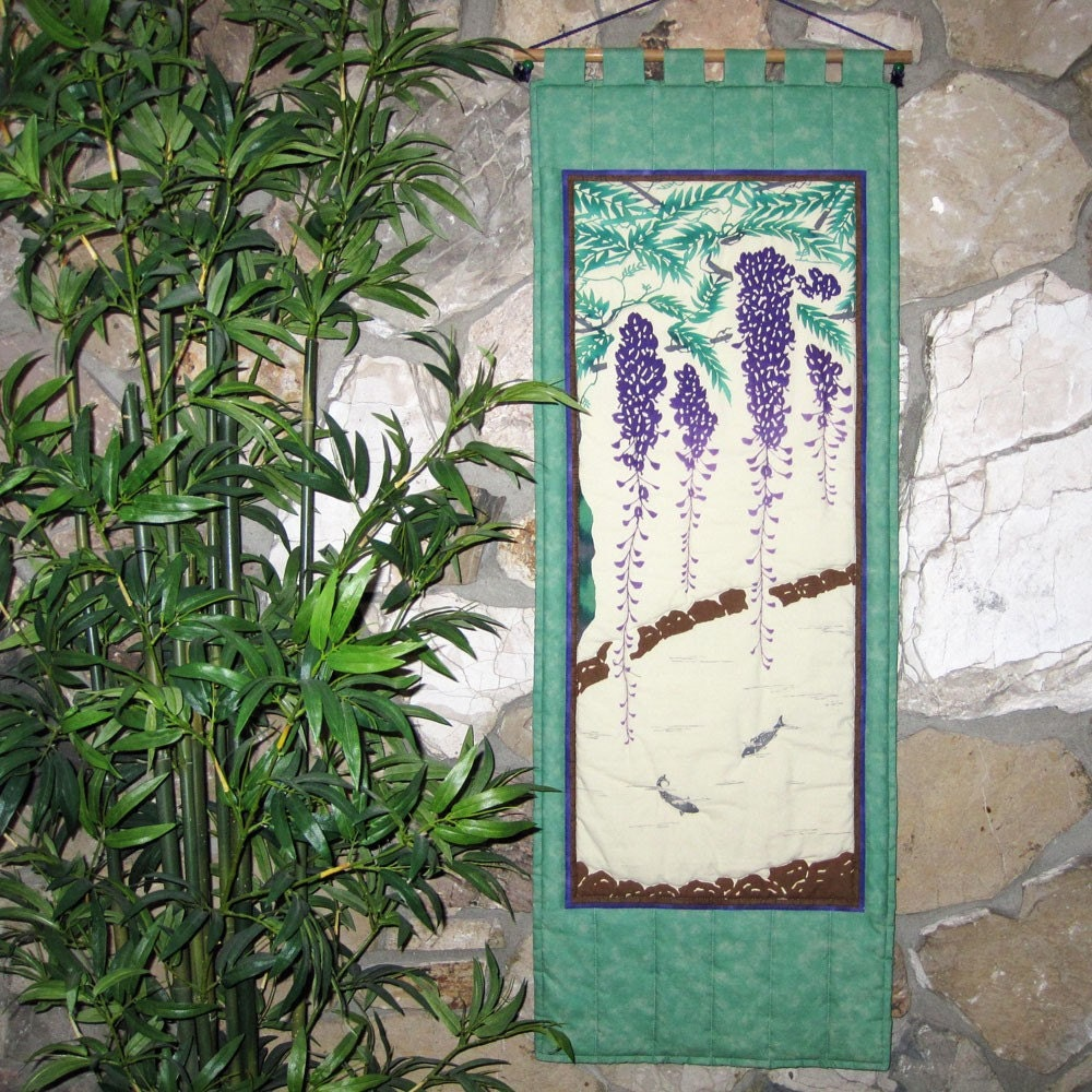 Wisteria and fish pond wall hanging quilt decor japanese asian for Japanese pond ornaments