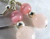 SUPER SALE- The Rose- Pink Quartz Drop Earrings