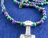 Legend of a Banished Man Sterling and Gemstone Thor's Hammer Necklace
