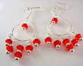 SUPER SALE- Red Apples- Bright Crimson Dangly Chandelier Earrings