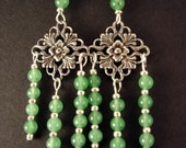 SUPER SALE- Mary Jane- Aventurine Chandeliers with Floral Focal