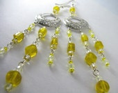 SUPER SALE- Lemon Meringue Dramatic Bright Yellow Chandelier Earrings