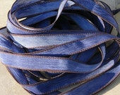 Texas Blue Jeans Crinkle Silk Ribbons, Silk Strings, Hand Dyed Sewn Silk Ribbons Bluejean Brown, Great Silk Wrap Yoga Bracelets