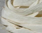 IVORY Silk Ribbons 5 Strings Necklace Hand Dyed Ties Creme Off White, Great for Silk Wrap Bracelets, Jewelry or Crafts