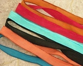 SOUTHWEST ASSORTMENT Silk Ribbons 6 Hand Dyed Sewn Strings Terracotta Turquoise Black Red