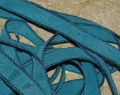 TURQUOISE BLUE DARK Silk Ribbons Hand Dyed Sewn 5 Strands, Great Bracelet Wraps, Jewelry or Craft Ribbon
