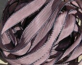 BLACKBERRY Hand Dyed Silk Ribbon 5 Hand-Dyed Sewn Strings Misty Violet Plum, Great for Bracelet Wraps, Necklaces or Crafts