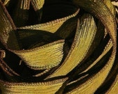 DARK OLIVE GREEN Silk Ribbons Hand-Dyed and Sewn 5 Strings Strands Army, Great for Silk Bracelet Wraps, Necklaces, Jewelry and Crafts