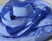 PERIWINKLE BLUE Silk Ribbons Hand Dyed 5 Jewelry Strings Strands Cornflower, Necklace Ribbons or Bracelet Wraps