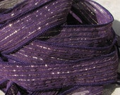 Purple Fizz Hand Dyed and Sewn Silk Ribbons Strings Purple Gold Metallic